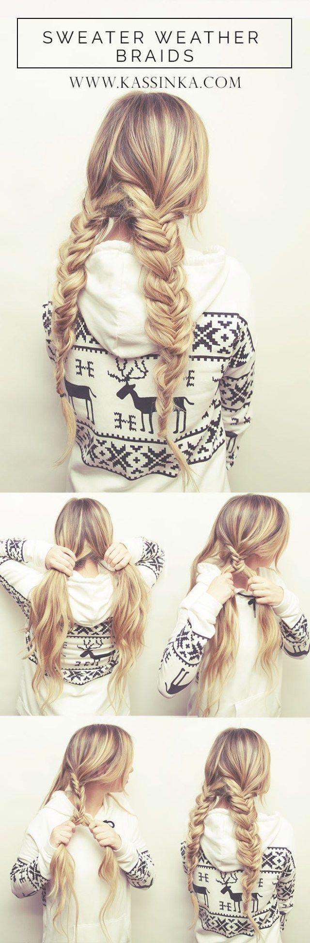 Sweater Weather Braids Hair Tutorial (Kassinka)