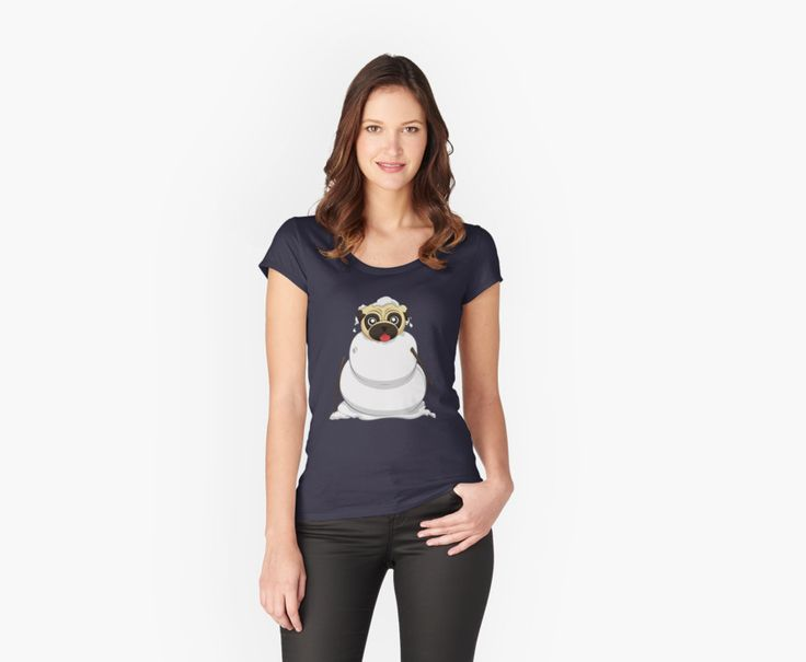 Snowman Pug T-Shirts by AnMGoug on Redbubble. #Winter #snowman #pug #tshirt