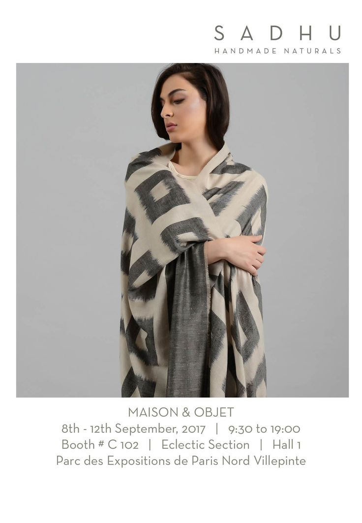 We are showing our new collection of handmade cashmere scarves, wraps and throws at Maison and Objet, Paris from 8th-12th September. Booth#C102. Eclectic. Hall 1. Parc des Expositions de Paris Nord Villepinte#Maisonandobjet#handmade#pashmina#cashmere#scarves#throws#ponchos#kashmir#handloom#ikat#tiedye