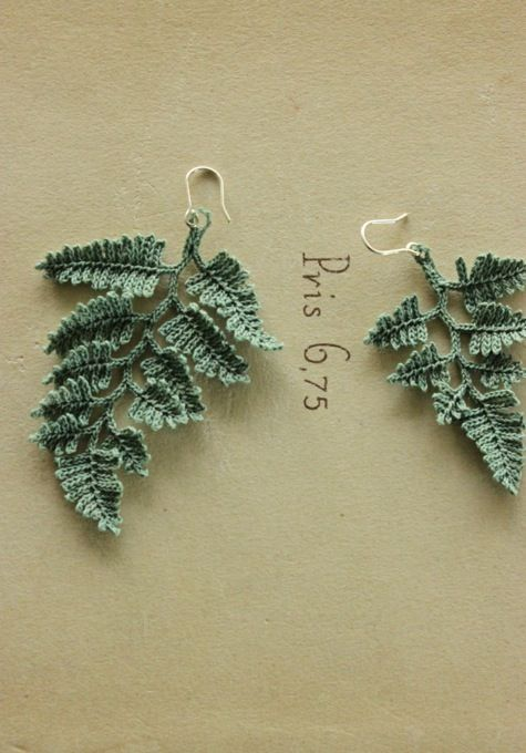 Green Leaves Earrings. (Japanese site). I'm not sure whether they are crochet or knit icords.