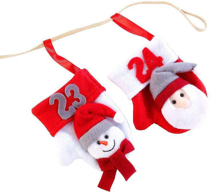 weihnachtskalender adventskalender girlande mit 24 nikolaus handsch hchen adventskalender zum. Black Bedroom Furniture Sets. Home Design Ideas