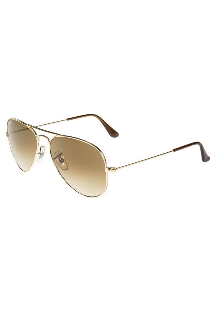 "Ray-Ban. AVIATOR - Sunglasses - braun/goldfarben. UV protection:yes. lenses:coated glasses. Frame style:aviator. Bridge width:0.5 "". Total width:5.0 "" (Size 55). Glasses case:hard case. Arm length:5.0 """