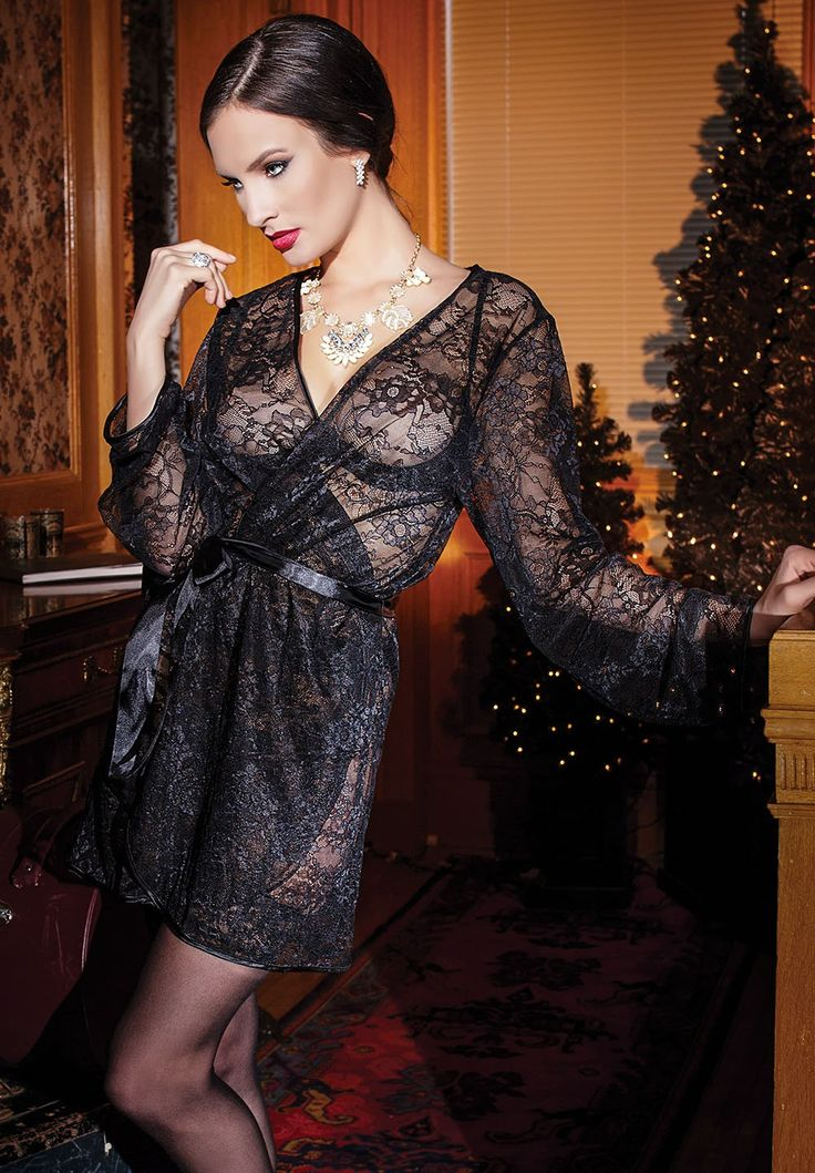 Stretch Lace Full Sleeves Black Robe