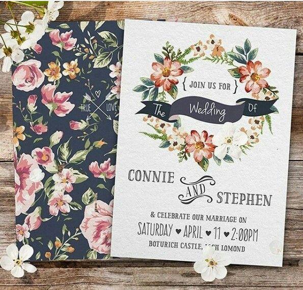 Convite floral em estilo rústico/boho