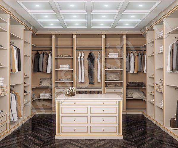 """Светлая гардеробная в классическом стиле – это изысканная роскошь, которая говорит о непревзойденном вкусе ее обладателя. Фасады гардеробной """"Вивальди"""" выполнены из МДФ и отделаны золотой патиной. Такая гардеробная сочетает в себе комфорт, роскошь, благородство и элегантность. Если площадь помещения позволяет, то мы советуем оборудовать гардеробную комнату по-максимуму, а именно использовать центральный остров, который представляет собой эргономичную систему хранения. Остров может быть…"""