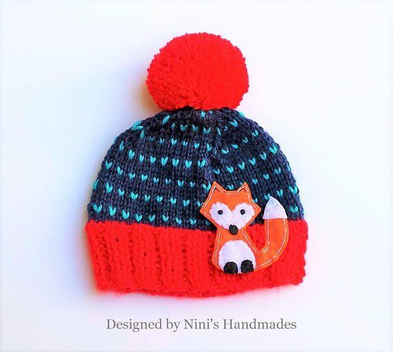 FOX inspired Fair Isle Style striped knit Beanie Red Navy $20.95 #handmade #cute #fox #beanie #hat #pom pom #red #red pom pom #instapic #instagood #foxhats #foxbeanie #foxapparel #kids #apparel #fox kids apparel #handmade #ninishandmades #bogo #dealsandsteals