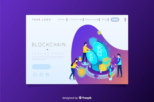 Blockchain landing page Vector | Free Download | Web Desing from