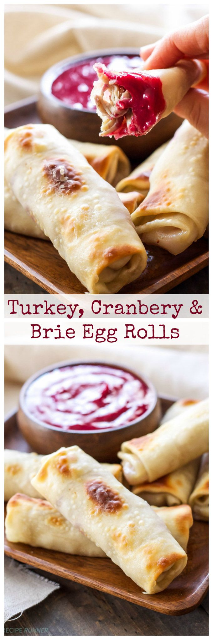 Turkey Cranberry and Brie Egg Rolls....Baked egg rolls stuffed with leftover Thanksgiving turkey, cranberry sauce and a slice of brie cheese!!