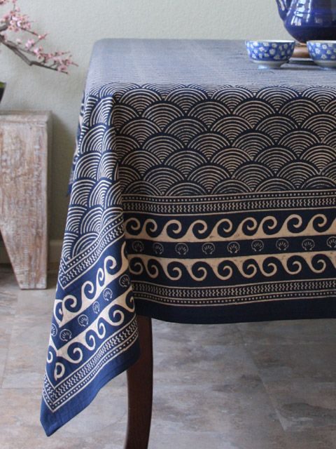 Rustic Navy Blue Tablecloth, Asian Insipired Tablecloth, Oriental Tablecloth, Cotton Tablecloth