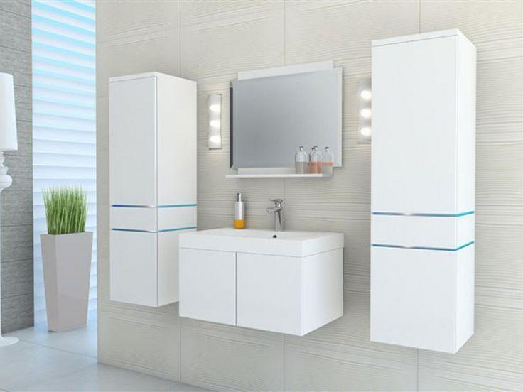 Ensemble NAOMI à leds - meubles de salle de bain - laqué blanc