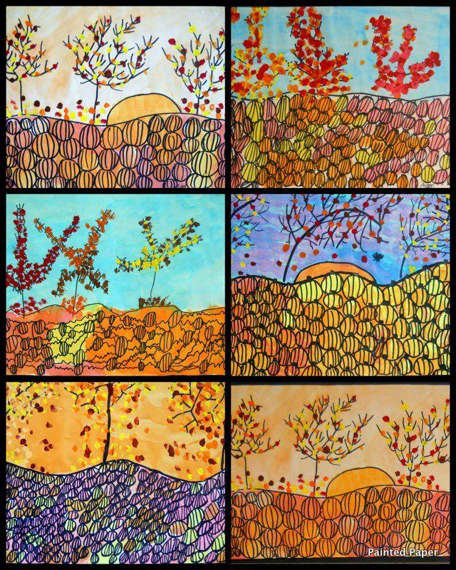 225 best art lessons autumn images on pinterest art for Landscape art projects