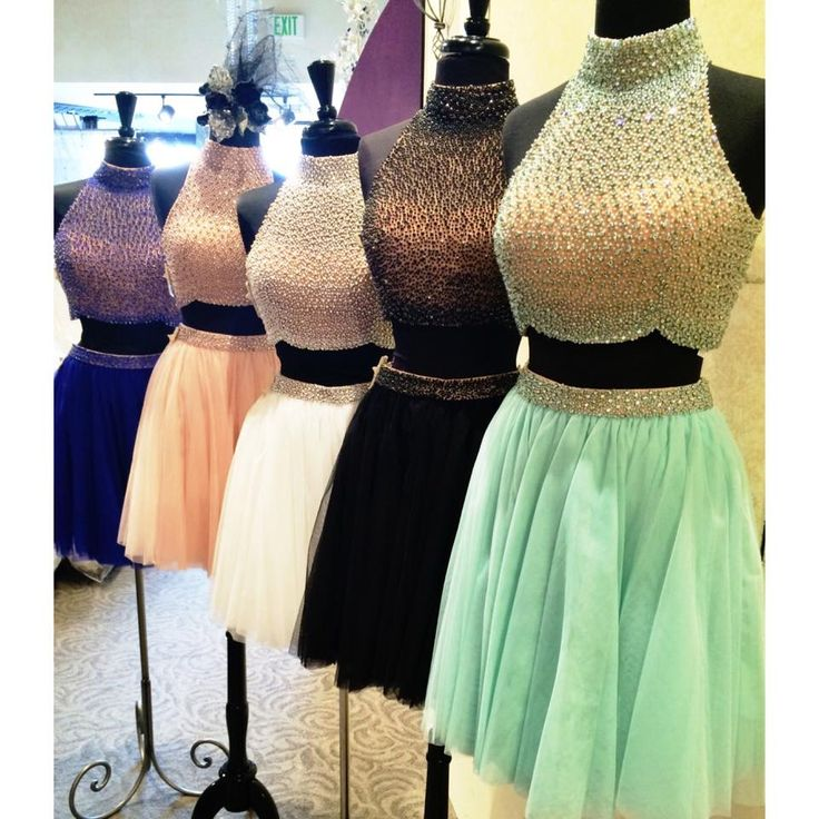 Short Sherri Hill dress. Two-piece dress with tulle skirt and beaded top.