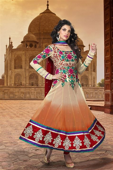 Net Orange Anarkali Party wear Salwar Suit