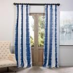 Exclusive Fabrics & Furnishings Flambe Blue Blackout Curtain - 50 in. W x 120 in. L (Pair)