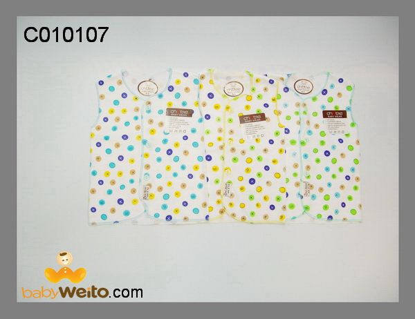 C010107  Baju tangan kutung  bahan halus dan lembut  ukuran: Newborn  IDR 60*/ 3pcs
