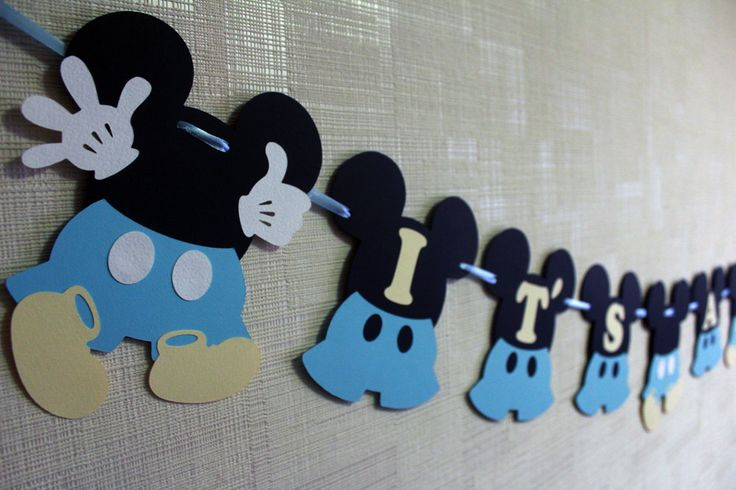Mickey Mouse baby shower decorations Baby Mickey baby shower boy banner blue…