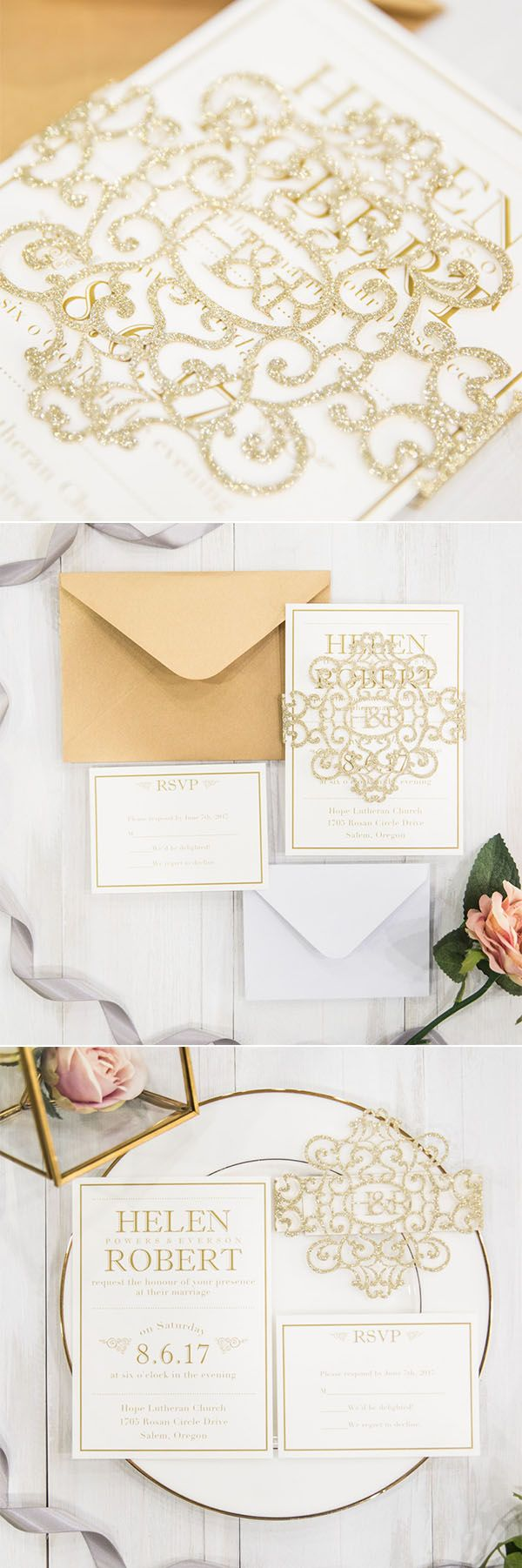 81 best gold foil wedding invitations images on pinterest
