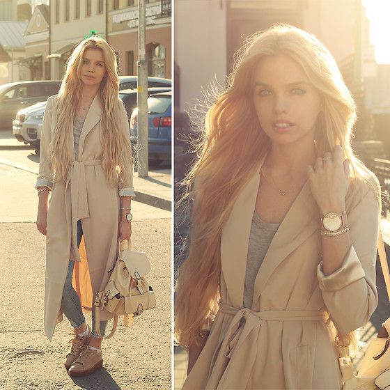 Get this look: http://lb.nu/look/8208775  More looks by Ekaterina Normalnaya: http://lb.nu/normalnaya  Items in this look:  Paul Hewitt Signature Line Watch Rose Gold, Kylie Camel Trainers, Nude Premium Duster Trench Coat   #casual #chic #street