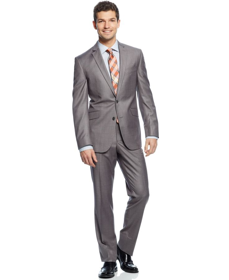 Kenneth Cole Reaction Light Grey Solid Slim-Fit Suit