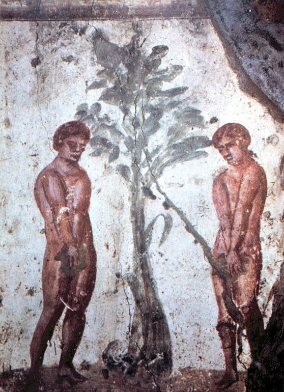 Early Christian depiction of Adam and Eve in the Catacombs of Marcellinus and Peter. Wikipedia