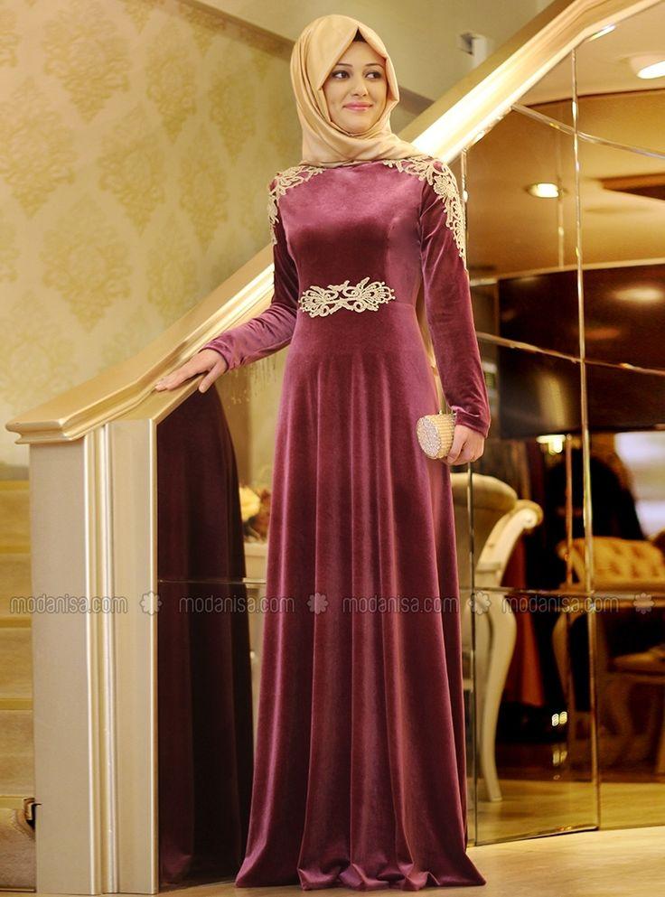 Gold Kadife Elbise - Gül Kurusu - Gamze Polat