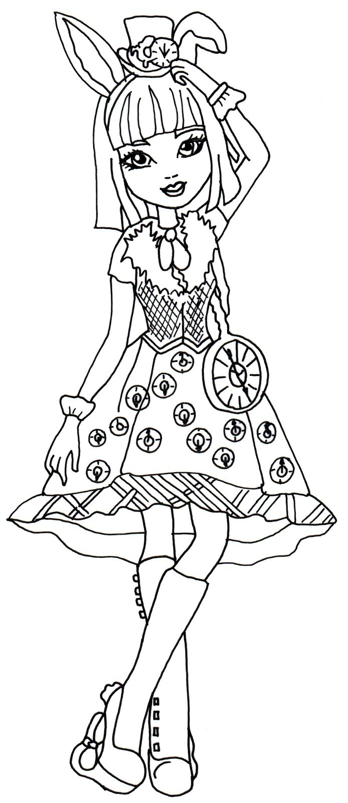 Coloring pages printable bunny - Free Printable Ever After High Coloring Pages Bunny Blanc