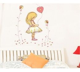 Little girl and heart balloon wall sticker available at www.kidzdecor.co.za. Free postage throughout South Africa