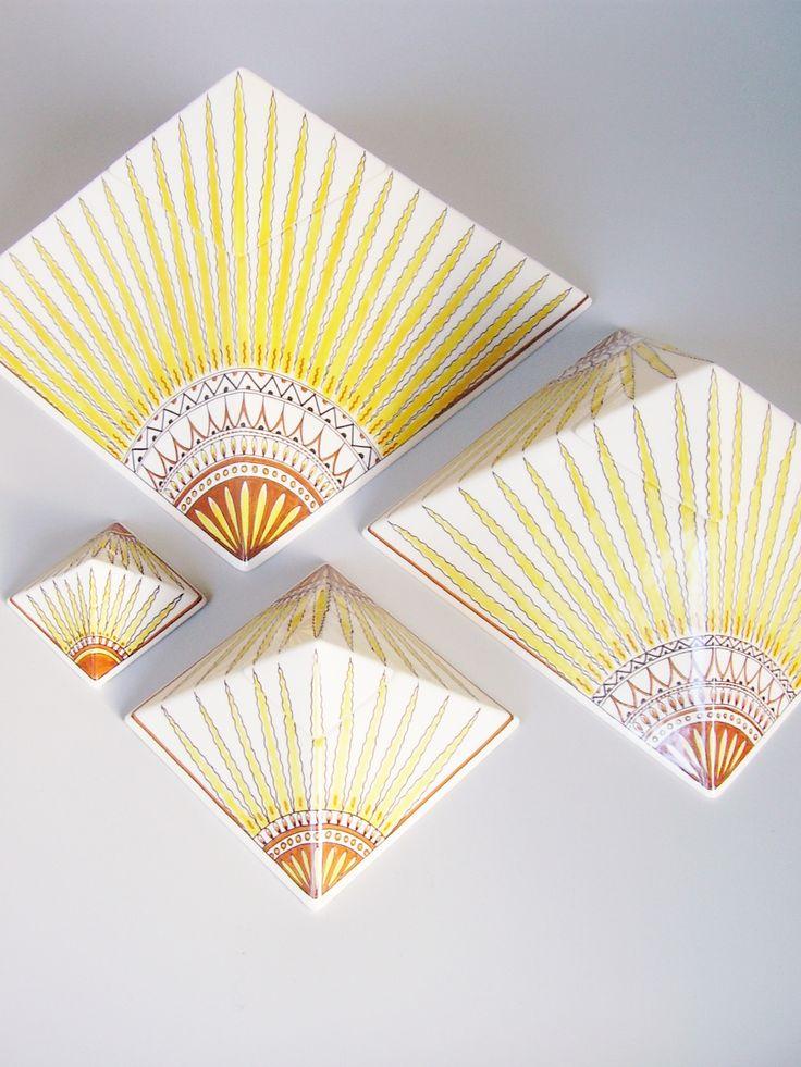 Hand painted cremation urn Pyramid - Sun - Phoenix Urns®