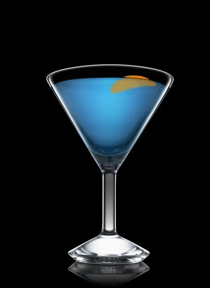 Bikini Martini - Fill a mixing glass with ice cubes. Add all ingredients. Stir and strain into a chilled cocktail glass. Garnish with orange. 3 Parts Gin, 1 Part Blue Curacao, 1 Splash Peach Schnapps, 1 Peel Orange