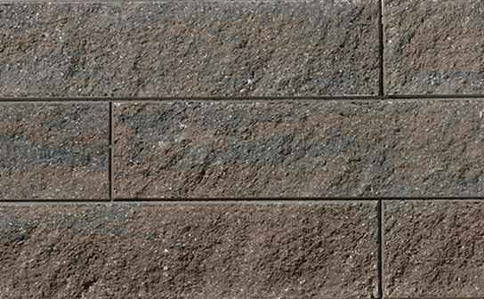 Proterra Timberwood Textured Wall by Oaks Landscape Products. Appropriate for freestanding, gravity and geosynthetic-reinforced walls.
