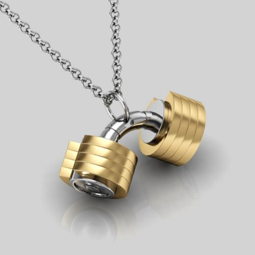 fitness gym pendants loading jewelry s itm image dumbbell black necklace weightlifting is barbell