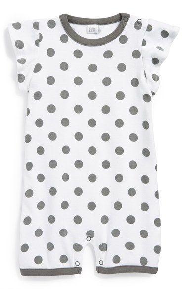 Nordstrom Baby Flutter Polka Dot Grey and White Sleeve Romper for girl... love this!