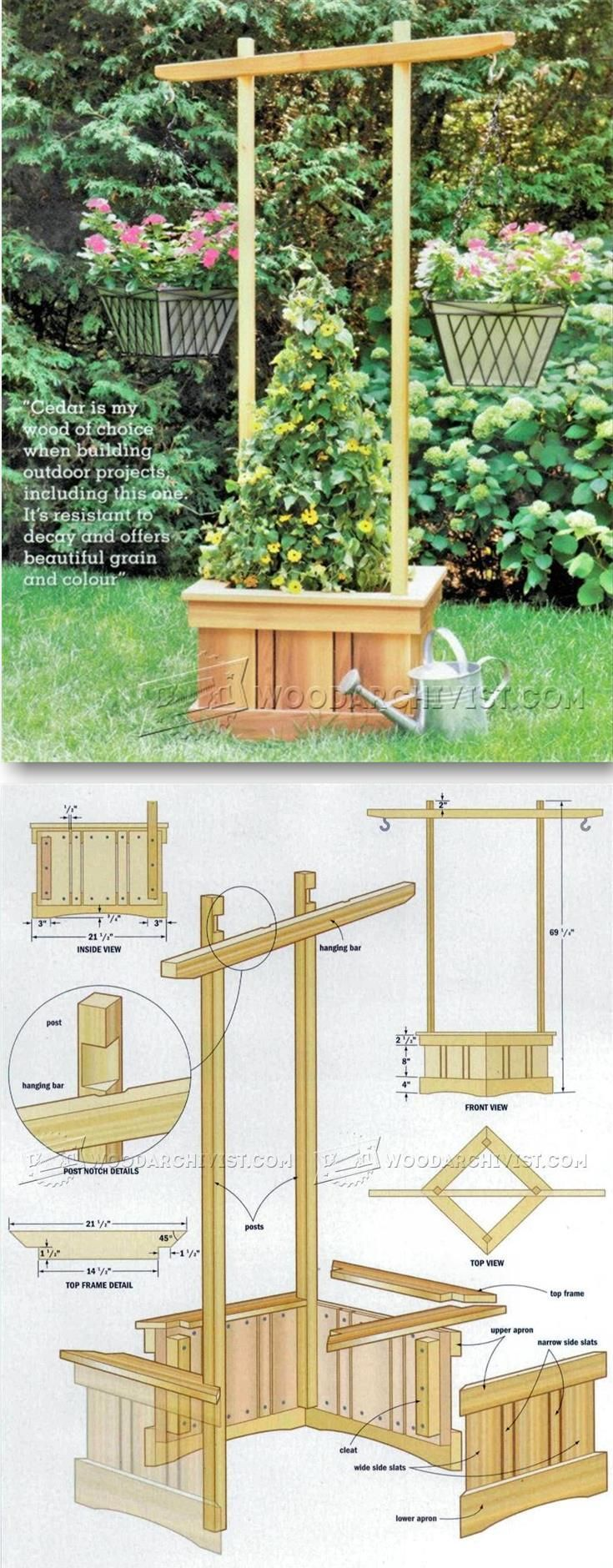 623 best images about planters on pinterest wheelbarrow for Garden planter plans