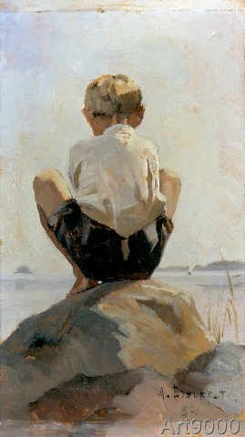 Albert Edelfelt - A Boy Crouching on a Rock