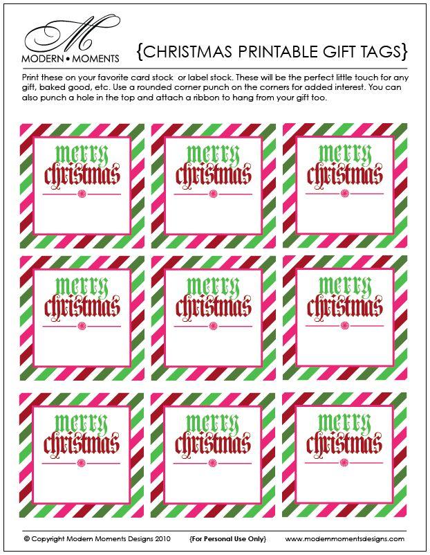Merry Christmas printable tag | Christmas | Pinterest