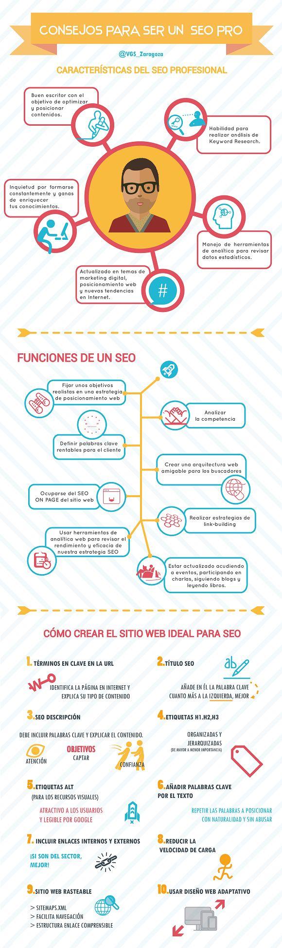 Consejos para convertirte en un SEO profesional #infografia #infographic #seo