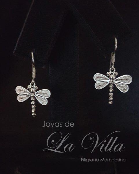 Aretes de libélula. Filigrana Momposina Plata Ley 950