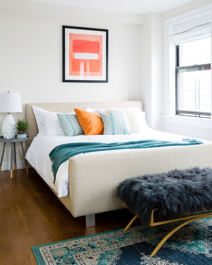 pretty teal and orange bedroom decor thats modern and uncluttered it still has personality and quirky touches