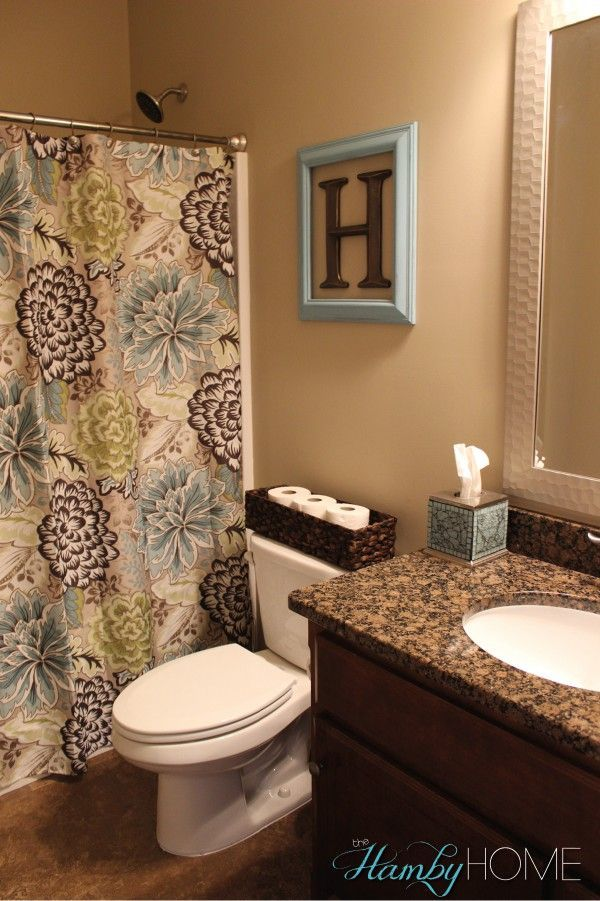 Bathroom decor home tour all things home pinterest for Apartment bathroom ideas