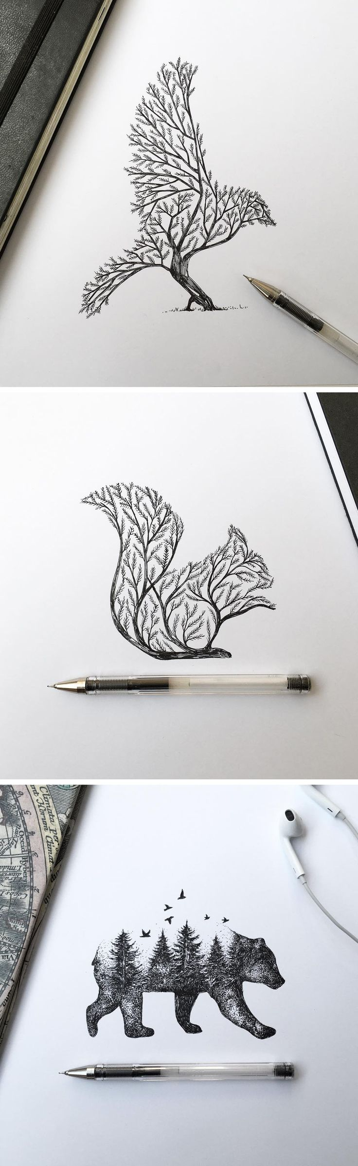 @◈ n i c o l e l e c h e r ◈ Pen & Ink Depictions of Trees Sprouting into Animals by Alfred Basha