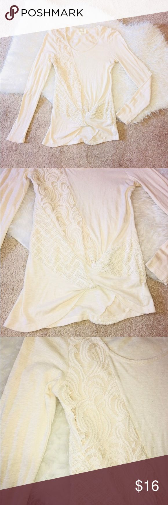 """Anthro Deletta Lace Embroidered Top Anthropologie Deletta Brand Cream Long Sleeve Top. XS. Crew neck with lace embroidery on front and back. Gathered """"knotted"""" front. Anthropologie Tops Blouses"""
