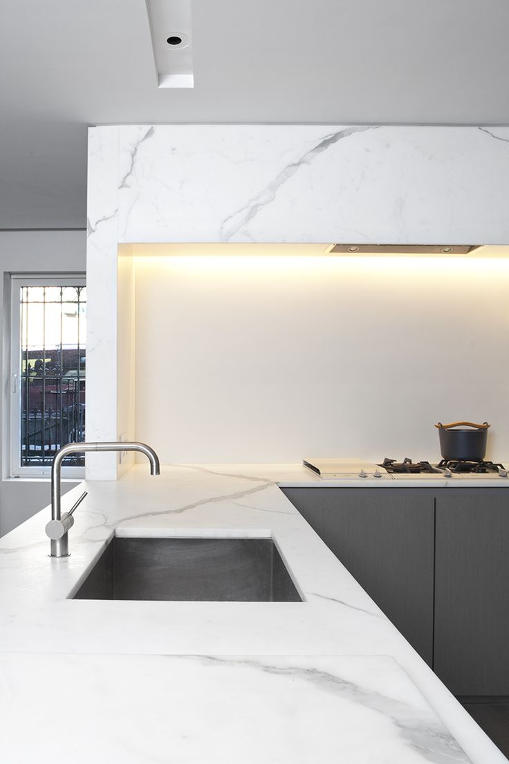 gray kitchen with marble