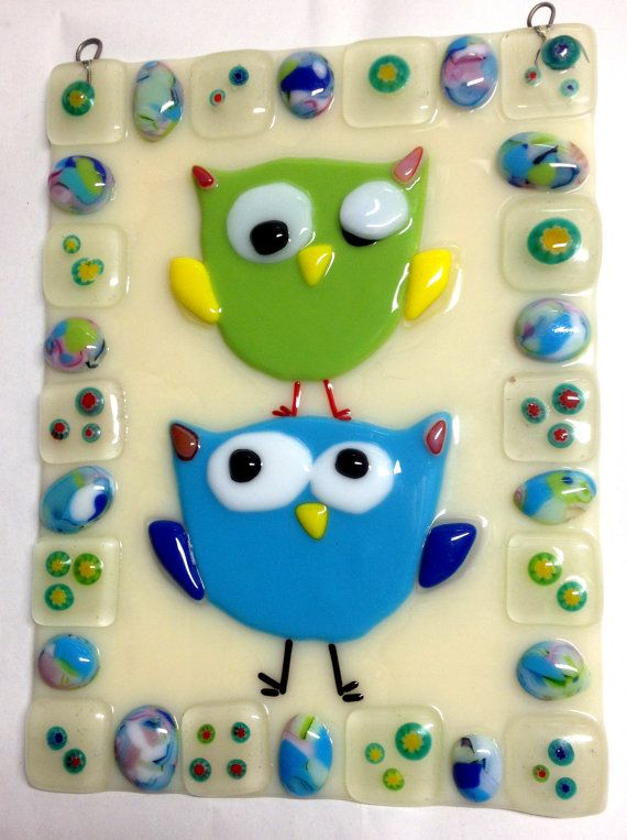 Contemporary Stained Glass Panel - Fused Stained Glass Owls- Fused Owls (PLG002)