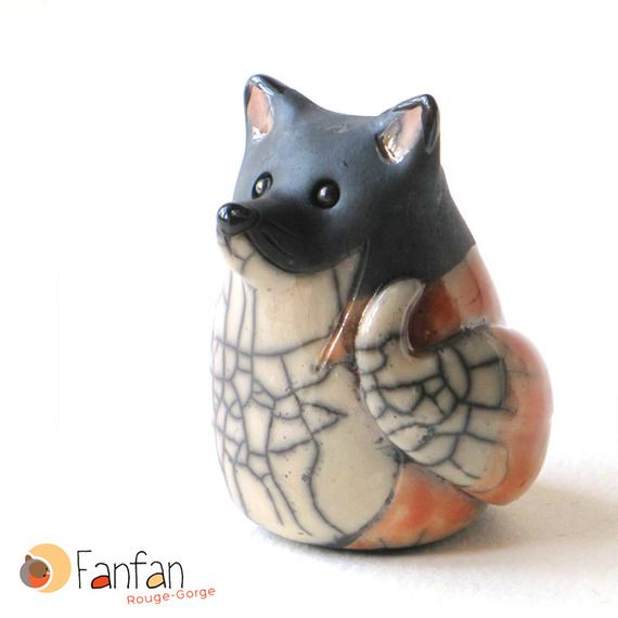 Renard roux en céramique Raku