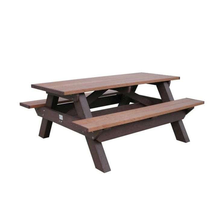 Outdoor Polly Products Deluxe Rectangle Recycled Plastic Picnic Table - ASM-DPT6-02-BLACK FRAME-BLACK TOP
