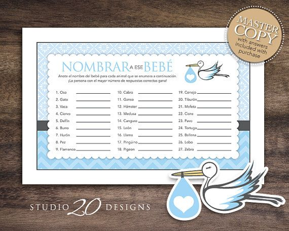 spanish baby shower games for boy stork name that baby game spanish