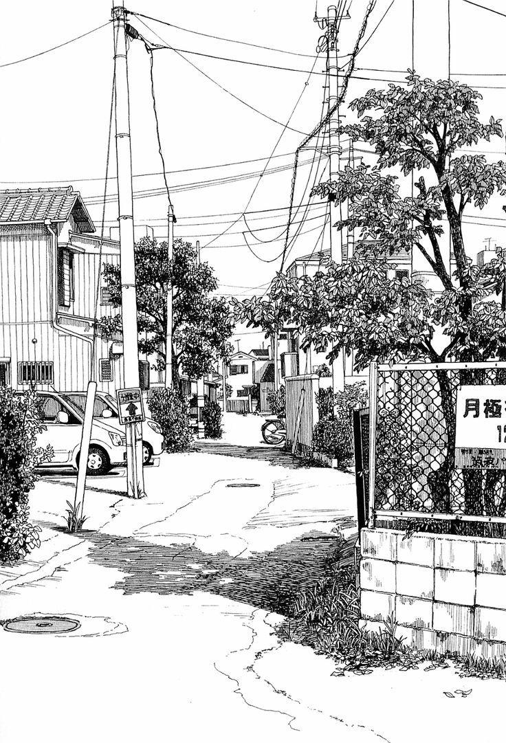 Azuma Kiyohiko - molto luminoso, estremamente grafico e fotografico allo stesso tempo. Albero scuro in primo piano, pali senza tridimensionalità