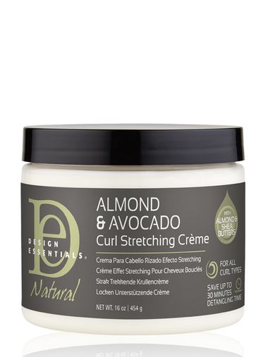 The Natural Almond & Avocado Curl Stretching Cream is a styling cream for curly hair that helps define hair texture and avoid shrinkage in tight curly hair.
