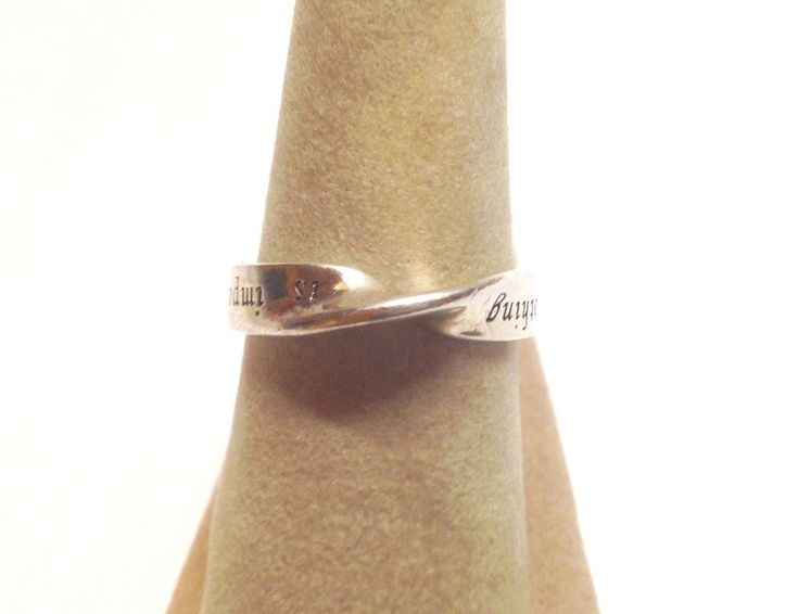 Retro Sterling Silver Pinched Ring Size 7 / Says Nothing is impossible  | eBay