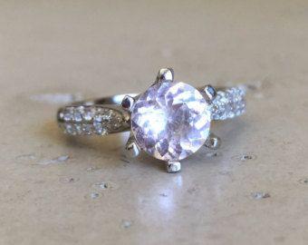 Diente puro compromiso - morganita promesa anillo - morganita aniversario anillo - morganita anillo de boda color rosa anillo de compromiso